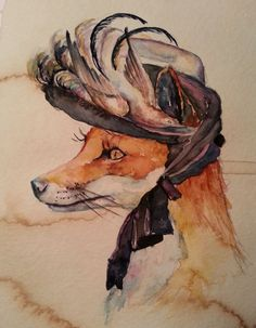 For sale : Foxy Foxy Victorian Inspired watercolor and coffee painting! www.christystudios.com  US $25.00 in Art, Direct from the Artist, Paintings