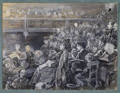 Drawing - The Audience in a Theatre - by Luke Fildes, C1860-1926