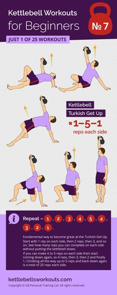 1 of 25 kettlebell workouts for beginners that will build a solid kettlebell training foundation. Using the kettlebell turkish get up this workout is very important to prevent future injuries and improve your movement skills. #kettlebell #kettlebellworkout #fitness #exercise