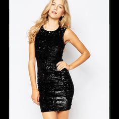 "NWT H&M Black Sequin Bodycon Dress Hit the town in style with this black sequined LBD from H&M.  Never worn, in perfect condition and ready for anything!  H&M size guide for XS: bust 31"", waist: 25-1/4"", inner leg: 31"".  This is an adorable little black dress and a perfect addition to anyone's wardrobe. H&M Dresses Mini"