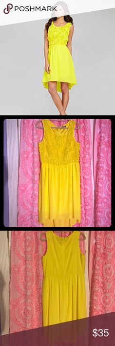 Gianni Bini Gracie Florette dress Bright yellow Gianni Bini Gracie Florette dress, about 6 inches longer in back. Flower detail on top with Back zipper. Polyester. Worn once, no rips or tears or stains. Gianni Bini Dresses High Low