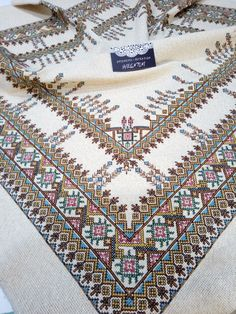 Palestinian Embroidery, Crochet Bedspread, Crochet Borders, Cross Stitch Flowers, Tablecloths, Blackwork, Cross Stitch Embroidery, Needlepoint, Stitch Patterns