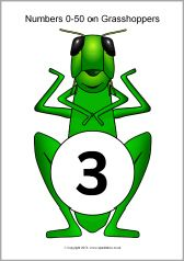 Numbers 0-50 on grasshoppers (SB9529) - SparkleBox