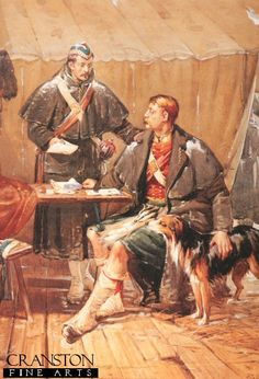 Letters from Home by Robert Gibb.Sutherland Highlander Officers, are shown in camp, reading letters from home, during the Crimean war.