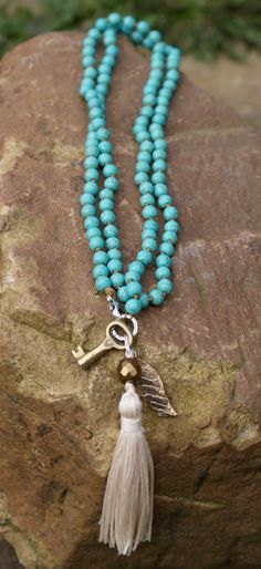 Long tassel knot necklace Vintage key beaded by Mollymoojewels