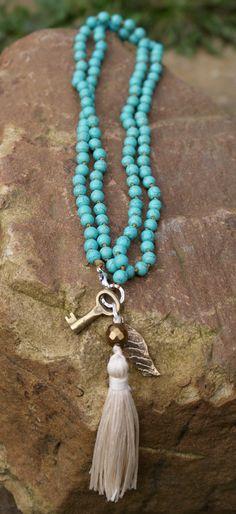 Long tassel knot necklace Vintage key beaded by Mollymoojewels