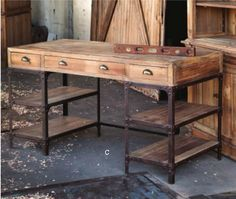 Park Hill Collection's vintage-style desk with industrial base