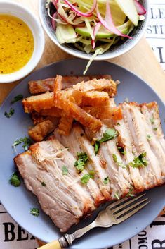 Slow-roasted Pork Belly with Fennel, Red Onion and Apple Salad