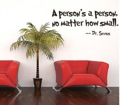 1 X ZooYoo Quote Dr Seuss a Person's a Person,no Matter How Small, Wall Art Vinyl Decals Stickers Quotes and Sayings Home Art Decor Wall Sticker Decal Love Kids Bedroom
