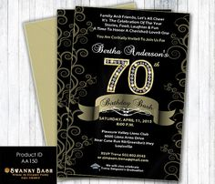70th birthday invitation for women printable seventy and fabulous 70th birthday bash custom designed invitation black satin gold diamond numbers digital filmwisefo Images
