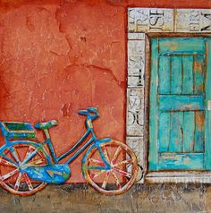 Bicycle at Doorway in Italy  Commuter's Dream  by dannyphillipsart, $18.00