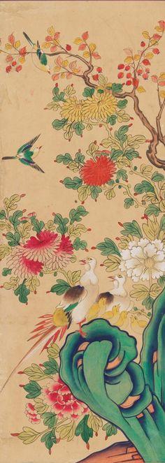 국립고궁박물관 소장작품들 여덟번째 입니다 : 네이버 블로그 Peonies, Folk Art, Oriental, Diagram, Japan, Painting, Color, Korean, China