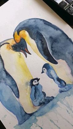 Penguin family speedpaint by Valrart - Watercolor Painting Penguin Watercolor, Watercolor Animals, Watercolor Paintings, Watercolor Koi, Bird Drawings, Animal Drawings, Drawing Birds, Pinguin Drawing, Penguin Art