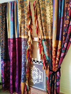 boho Gypsy Curtains Drapes Fall Hippie Luxe Hippy holiday Bohemian chic paisley scarf Wall Decor Window patchwork fringe Bedroom - Home Designs Indian Curtains, Bohemian Curtains, Silk Curtains, Drop Cloth Curtains, Rustic Curtains, Hanging Curtains, Bohemian Decor, Farmhouse Curtains, Bohemian Fall