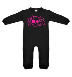 Skull & Stars Long Sleeve Romper (black/hot pink)    Product description:    A comfortable and durable 100% cotton long sleeve baby romper that makes a great gift for a baby shower.    100% Ring spun combed cotton with snap buttons on the legs & crotch.