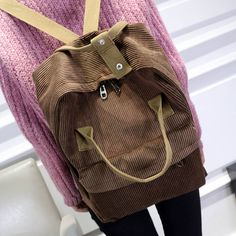 corduroy velventeen striped gray brown khaki blue black AA fashion backpack harajuku street style teen college women school bag-in Backpacks from Luggage & Bags on Aliexpress.com | Alibaba Group