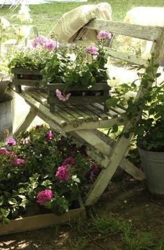 Cottage Garden Bench...flowers.