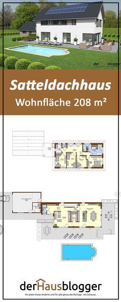 Dieses 208m² große Satteldachhaus ist auf einem sehr schmalen Grundstück gebaut worden. Bei schmalen Grundstücken muss man ein paar planerische Details beachten, um der Geometrie außen und auch im Inneren entgegenzuwirken. Erwerben Sie hier die interaktive 3D-Planungsgrundlage.  #architektur #grundriss #hausbau #einfamilienhaus #house #houseplan  #architektenhaus Gable House, House Roof, Bungalow, House Plans, Floor Plans, In This Moment, How To Plan, Architecture, 3d