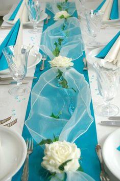 Komplette Tischdeko in türkis-creme für Hochzeit/Geburtstag/Kommunion etcr.