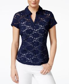 Maison Jules Illusion Lace Polo Top, Only at Macy's