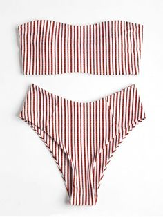 High Waisted Striped Bandeau Bikini Swimwear. Muted stripes soften the effortless bikini set, which features a bandeau collar with strapless style, padded cups in a comfortable touch and side boning for extra support. Large coverage swim briefs are s perfect match with high waisted style and a high cut leg on the thighs. Stretch fabric adds a flattering, supportive fit. #Zaful #Swimwear #Bikinis