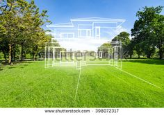 concept of dream house on green grass filed