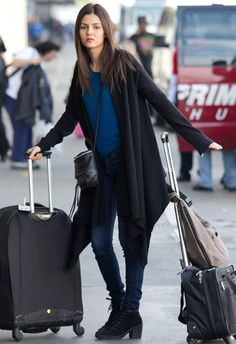 Victoria Justice wearing Rebecca Minkoff Zach Mini Backpack DKNY Long Sleeve Silk Cashmere Cozy Cardigan in Black