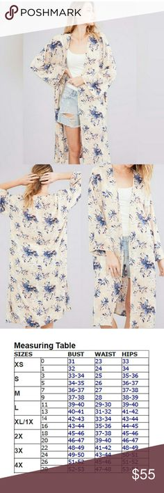 🆕 Floral kimono Beautiful floral kimono that can be dressed up or down! 100% polyester  Made in the USA See sizing chart for fit questions  Boutique prices firm Tops
