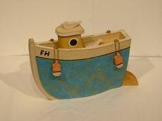 Medium fishing boat by John Parkes stoneware sculpture H18cm W24cm