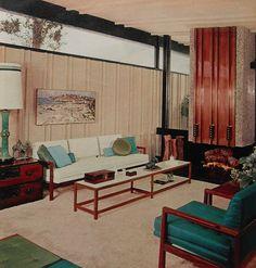 1960s Modern Clean Lines Bold Color Aqua White Vintage Interior Design Photo