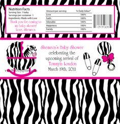 candy bar zebra labels   LynnetteArt: Zebra Baby Shower Invitation