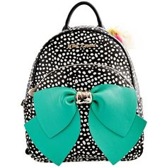 Betsey Johnson Betseyfied Bow Backpack Handbag ($128) ❤ liked on Polyvore featuring bags, backpacks, black polka dot, zip bag, betsey johnson backpack, fake bags, rucksack bag and spot bags