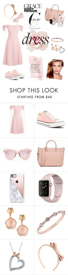 """""""Pink Monochromatic Off-Shoulder Dress"""" by allyssister ❤ liked on Polyvore featuring J.Crew, Converse, Karen Walker, Casetify, Pasquale Bruni, Givenchy, Disney, RED Valentino and Charlotte Tilbury"""