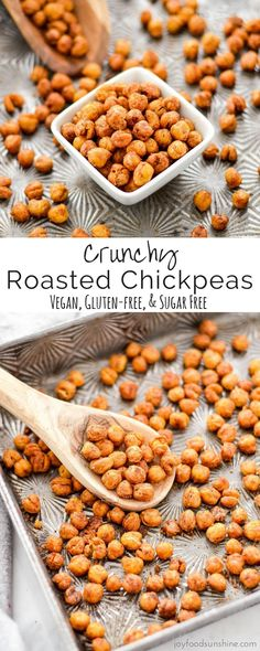 These perfectly seasoned Crunchy Roasted Chickpeas make a great snack or salad t. These perfectly seasoned Crunchy Roasted Chickpeas make a great snack or salad topper! Healthy Vegan Snacks, Vegetarian Recipes, Healthy Recipes, Easy Recipes, Vegan Food, Breakfast Healthy, Diet Snacks, Healthy Meals, Cheap Recipes