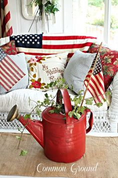 Patriotic summer porch--love this♥ Fourth Of July Decor, 4th Of July Decorations, 4th Of July Party, July 4th, Outdoor Decorations, Memorial Day Decorations, White And Blue Flowers, Red White Blue, Summer Porch