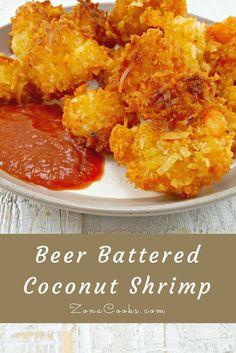 Beer Battered Coconut Shrimp has sweet coconut, crunchy Panko Japanese bread crumbs, and beer batter fried crispy golden brown. Battered Shrimp Recipes, Beer Battered Shrimp, Fried Shrimp Recipes, Coconut Shrimp Recipes, Shrimp Dishes, Seafood Recipes, Appetizer Recipes, Cooking Recipes, Appetizers