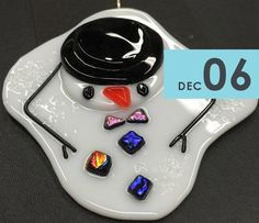 Image result for fused glass snowman