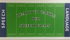 Bulletin board for speech therapy room