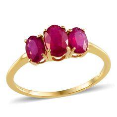 Genuine Ruby 3 stone 10K Yellow Gold  3.00 carats size 9 #Unbranded #ThreeStone