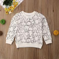 Party Cartoon Bunny Sweatshirt for Toddler Girls Jumper Outfit, Sweatshirt Outfit, Cute Toddler Girl Clothes, Toddler Girl Outfits, Boy Outfits, Girl Toddler, Cute Sweatshirts, Printed Sweatshirts, Pull Bebe