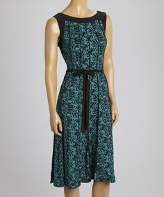 This Teal & Black Floral Sleeveless Dress by Perceptions is perfect! #zulilyfinds