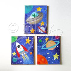 Kids Wall Art, SPACE ART SET, Set of 3 acrylic canvases, Space themed children's decor, nursery art Nursery Canvas, Kids Canvas, Nursery Art, Canvas Ideas, Bedroom Art, Art Wall Kids, Art For Kids, Wall Art, Diy Wall