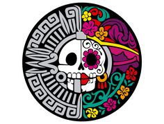 Day of the Dead/ Aztec Design Mexican Skulls, Mexican Folk Art, Logo Studio, Day Of The Dead Art, Mexico Art, Aztec Art, Sugar Skull Art, Chicano Art, Chicano Drawings