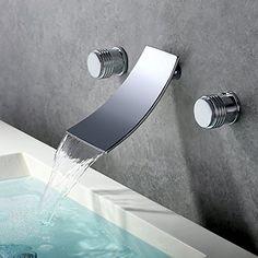 Badinstallation Badausstattung ZLL Zeitgenössische Chrom Finish Einhebel LED-Wasserfall Waschbecken Wasserhahn