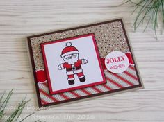 Cute Jolly Wishes Santa card made with Cookie Cutter Christmas and Holly Jolly Greetings stamp sets and Candy Cane Lane Designer Series Paper from Stampin' Up!