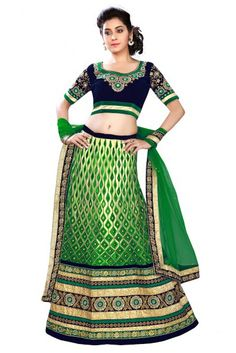 Green Colour Georgette Fabric A Line Lehenga Choli Comes With Matching Blouse and Dupatta. This Lehenga Chloli Is Crafted With Thread Work,Zari Work,Lace Work,Patch Work,Embroidery. The Lehenga Is Sem...