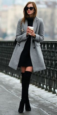 Style Tips On What To Wear With Your Grey Coat Grey Coat Outfits A grey coat knee-high boots ultimate feminine outfit Barbora Ondrackova great for work or an evening out Coat Zara Dress H 038 M Boots Stuart Weitzman Bag Chanel Sunglasses Celine Casual Winter Outfits, Winter Fashion Outfits, Look Fashion, Womens Fashion, Feminine Fashion, Fashion Tips, Fashion Ideas, Fashion Inspiration, Fashion Fashion