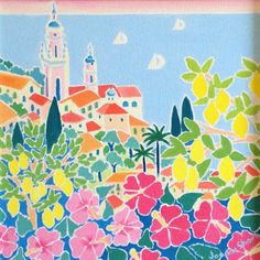 Blushing Pink Sky over Menton. Original Painting by Joanne Short Pretty Pictures, Art Pictures, John Dyer, Pink Sky, Hibiscus Flowers, Limited Edition Prints, Doodle Art, Painting Inspiration, Online Art