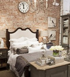 Love this rustic, perhaps loft, bedroom...love everything about it (except that the bed isn't a king-sized).