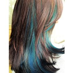 Beautiful brown haircolor with turquoise highlights. Love this look.